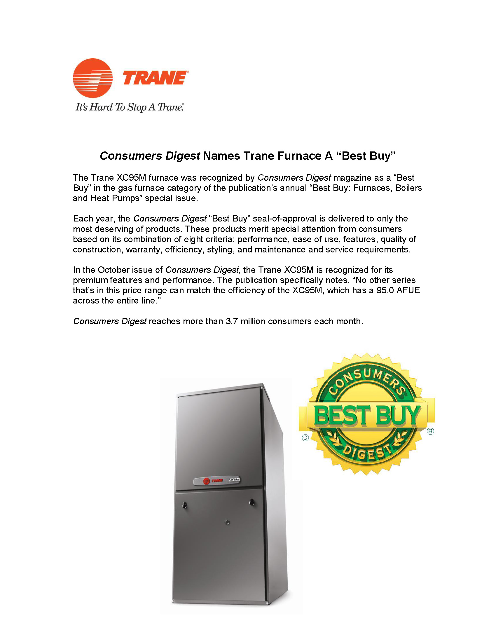 Trane Consumers Digest Best Buy_10 03 12